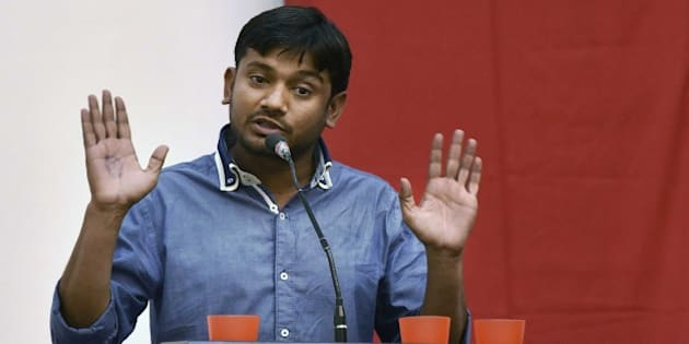 NEW DELHI, INDIA - MARCH 20: JNU Students' Union President Kanhaiya Kumar speaks during a Public Symposium, on March 20, 2016 in New Delhi, India. The arrest of Kanhaiya Kumar had generated a huge controversy, with the opposition parties accusing the government of suppressing freedom of speech. (Photo by Virendra Singh Gosain/Hindustan Times via Getty Images)