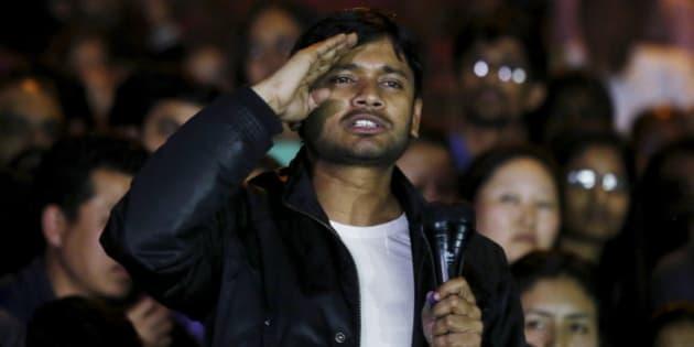 Kanhaiya Kumar, a Jawaharlal Nehru University (JNU) student union leader, gestures as he addresses a meet inside JNU campus in New Delhi, India, March 3, 2016.  REUTERS/Adnan Abidi
