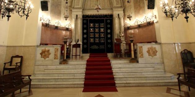 An inside view of the synagogue in Marseille, southern France, Wednesday, Jan. 13, 2016. A leading Jewish authority in Marseille asked fellow Jews on Tuesday to refrain from wearing their traditional skull cap to stay safe after a machete-wielding teen attacked a Jewish teacher. (AP Photo/Claude Paris)