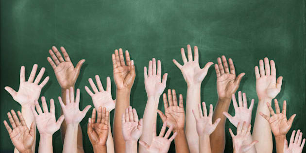 A multi-ethnic group of students' hands raised in front of a classroom blackboard.  There are 18 hands raised, visible to the wrist or elbow, and seen from the side of the palm.  The blackboard is dark green and has been freshly erased.
