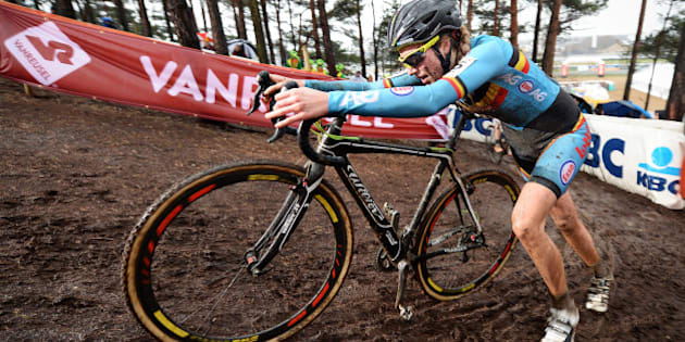 Belgian Femke Van Den Driessche races during the women's U23 race at the world championships cyclocross cycling, in Heusden-Zolder, on January 30, 2016. A concealed motor was found on a bike being used by Belgian cyclist Femke Van den Driessche at the world cyclo-cross championships, the head of the International Cycling Union (UCI) said on January 31. 'It's absolutely clear that there was technological fraud. There was a concealed motor. I dont think there are any secrets about that,' Brian Cookson told a news conference.  / AFP / Belga / Belgium OUT        (Photo credit should read /AFP/Getty Images)