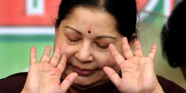All India Anna Dravida Munnetra Kazhagam (AIADMK) party chief Jayalalitha gestures during a hunger strike in Chennai, India, Sunday, March. 18, 2007.Jayalalithaa Sunday went on a one-day token fast demanding notification of the Cauvery Water Disputes Tribunal's final award in the Central gazette, amidst chaos and unruly scenes around the venue here according to a news agency. (AP Photo/M. Lakshman)