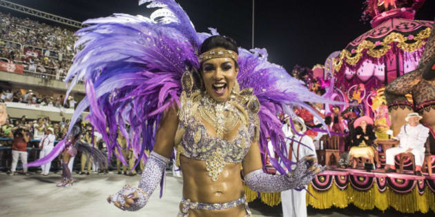 RIO DE JANEIRO, BRAZIL - FEBRUARY 08:  Performers dances during Salgueiro performance at the Rio Carnival in Sambodromo on February 8, 2016 in Rio de Janeiro, Brazil. Despite the Zika virus epidemic, thousands of tourists gathered in Rio de Janeiro for the carnival.  (Photo by Raphael Dias/Getty Images)