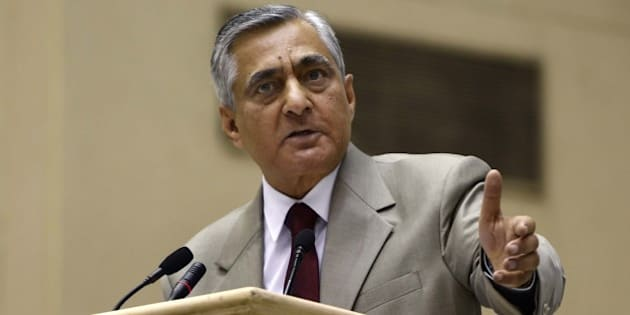 NEW DELHI, INDIA - APRIL 24: Chief Justice of India TS Thakur speaks during the inauguration of the Joint Conference of Chief Ministers and Chief Justices of High Courts, at Vigyan Bhawan, on April 24, 2016 in New Delhi, India. During the conference, Prime Minister Narendra Modi said that he understood the Chief Justice's concern and added that going forward, he hoped that the Government and the Judiciary could work together to find solutions to these issues. Thakur, got emotional while saying that criticism of judiciary for delay is unfair. (Photo by Sushil Kumar/Hindustan Times via Getty Images)