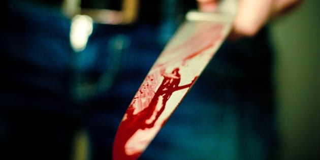Knife with blood.
