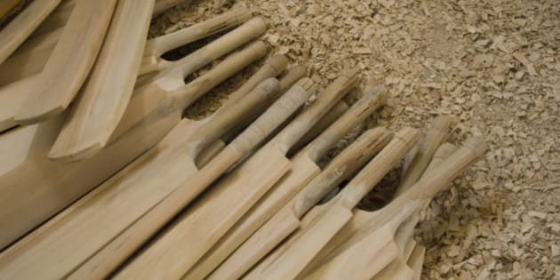 High angle view of cricket bats