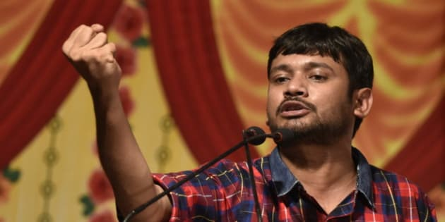 MUMBAI, INDIA - APRIL 23: JNU Students Union leader Kanhaiya Kumar speaks during a Joint Students Youth Assembly against discrimination and attacks on Universities, at Adarsh Vidyalaya in Tilak Nagar on April 23, 2016 in Mumbai, India. Kumar claimed that he was allegedly strangled on a Jet Airways flight to Pune on Sunday morning in Mumbai by a co-passenger but an initial police probe revealed that it was not a case of assault but the two pushed each other over a petty argument. The student leader was arrested on sedition charges on February 12 after allegedly raising anti-India slogans at the JNU campus. He was given bail after police failed to produce any evidence to back the charge. (Photo by Arijit Sen/Hindustan Times via Getty Images)