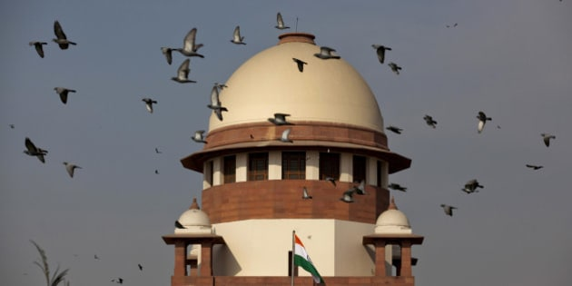 Pigeons fly past the dome of India's Supreme Court building in New Delhi, India, Tuesday, Feb. 2, 2016. India's top court on Tuesday agreed to re-examine a colonial-era law that makes homosexual acts punishable by up to a decade in prison. Gay activists cheered the court decision and said they were hopeful that the verdict would ultimately go in their favor, giving them a chance to live openly. (AP Photo/Tsering Topgyal)