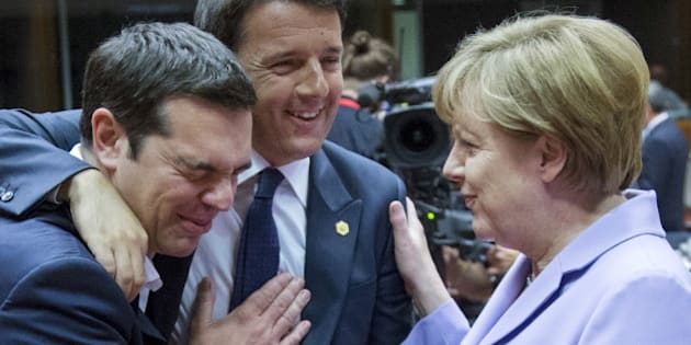 "Greek Prime Minister Alexis Tsipras (L-R), Italian Prime Minister Matteo Renzi and German Chancellor Angela Merkel attend a European Union leaders summit in Brussels, Belgium, June 25, 2015. Time magazine named Merkel its 2015 ""Person of the Year"", noting her resilience and leadership when faced with the Syrian refugee crisis and turmoil in the European Union over its currency this year.    REUTERS/Yves Herman"