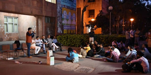NEW DELHI, INDIA - MARCH 10: ABVP students of JNU during meeting in front of Admin Building at JNU Campus on March 10, 2016 in New Delhi, India. (Photo by Vipin Kumar/Hindustan Times via Getty Images)
