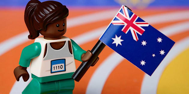 UNSPECIFIED - AUGUST 26:  In this handout provided by LEGO Australia, a LEGO recreation of Cathy Freeman winning gold in the 400m at the 2000 Sydney Olympic Games, on August 26, 2012. LEGO Australia today unveiled LEGO Minifigure recreations of the top ten Australian moments from the past 50 years. (Photo by Mike Stimpson/LEGO Australia via Getty Images)