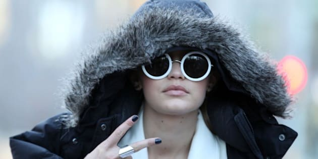 NEW YORK, NY - MARCH 29:  Gigi  Hadid at photo shoot in Columbus Circle on March 29, 2016 in New York City.  (Photo by Steve Sands/GC Images