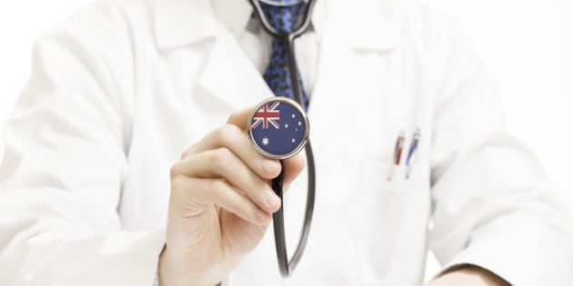 Doctor holding stethoscope with flag series - Australia