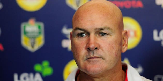 TOWNSVILLE, QUEENSLAND - APRIL 02:  Dragons coach Paul McGregor looks on at the post match media conference at the end of during the round five NRL match between the North Queensland Cowboys and the St George Illawarra Dragons at 1300SMILES Stadium on April 2, 2016 in Townsville, Australia.  (Photo by Ian Hitchcock/Getty Images)