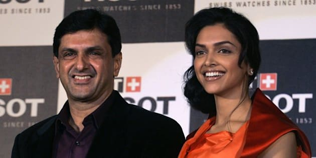 Indian actress and brand ambassador of Tissot, Deepika Padukone, right, is seen with her father Prakash Padukone during a press conference to launch Tissot watches in Mumbai, India, Thursday, March 5, 2009. (AP Photo/Rajanish Kakade)