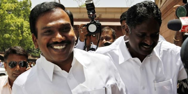 NEW DELHI, INDIA - MAY 16: Former Telecom Minister and DMK MP A Raja arrive at Parliament house to attend the budget session on May 16, 2012 in New Delhi, India. He was released yesterday on bail in 2G spectrum case. (Photo by Arvind Yadav/ Hindustan Times via Getty Images)