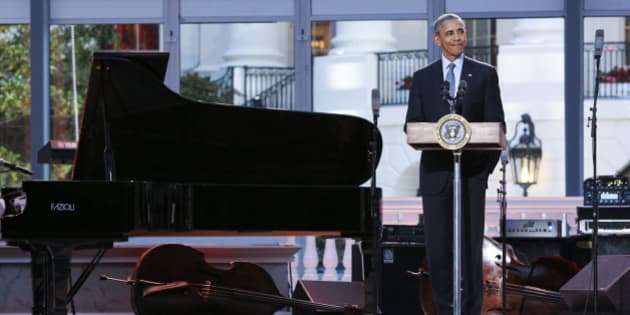 WASHINGTON, DC - APRIL 29: President Barack Obama delivers remarks at the International Jazz Day Concert on the South Lawn of the White House on April 29, 2016 in Washington, DC. The event includes a performance by Aretha Franklin and is presented by Morgan Freeman. (Photo by Aude Guerrucci-Pool/Getty Images)