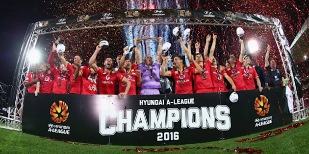 ADELAIDE, AUSTRALIA - MAY 01:  Adelaide United celebrate after they defeated the Wanderers during the 2015/16 A-League Grand Final match between Adelaide United and the Western Sydney Wanderers at Adelaide Oval on May 1, 2016 in Adelaide, Australia.  (Photo by Robert Cianflone/Getty Images)