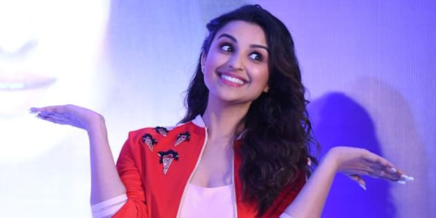 Indian Bollywood actress Parineeti Chopra gestures during a promotional event in New Delhi on April 6, 2016.
