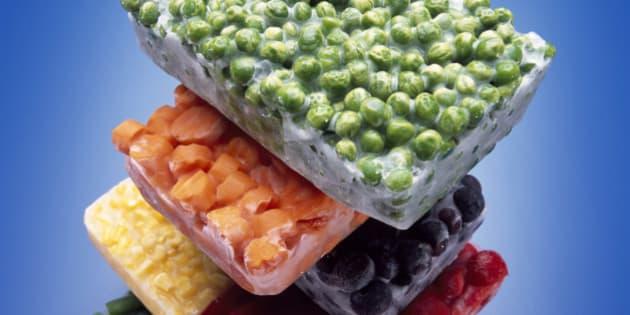 Stack of frozen vegetables
