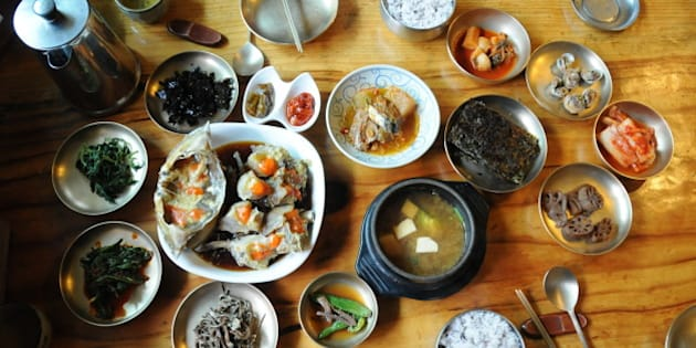 Korean traditional dishes with seasoned raw crab at Korean traditional restaurant.