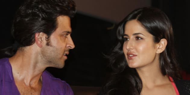 """Bollywood actor Hrithik Roshan (L) speaks with Katrina Kaif during a promotional event for their forthcoming movie """"Zindagi Na Milegi Dobara"""" (Life won't come twice) at a multiplex in the western Indian city of Ahmedabad July 8, 2011. The movie is directed by Zoya Akhtar and is scheduled to release on July 15. REUTERS/Amit Dave (INDIA - Tags: ENTERTAINMENT)"""