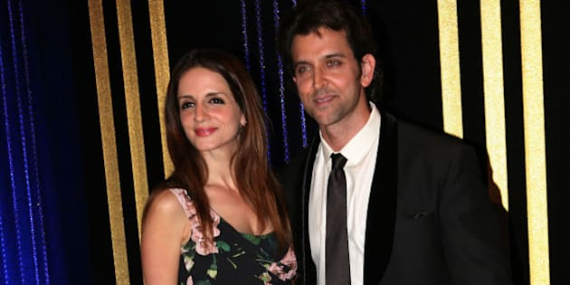 MUMBAI, INDIA - SEPTEMBER 6: Bollywood actor Hrithik Roshan with his wife Sussanne Roshan during the 64th birthday celebrations of actor turned producer Rakesh Roshan at Blue Sea, Worli Seaface on September 6, 2013 in Mumbai.(Photo by Milind Shelte/India Today Group/Getty Images)