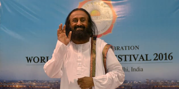 NEW DELHI, INDIA MARCH 13: Sri Sri Ravishankar during the World Culture Festival on the banks of Yamuna River in New Delhi.(Photo by K Asif/India Today Group/Getty Images)