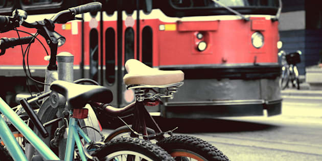 detail of bike and streetcar background downtown in toronto