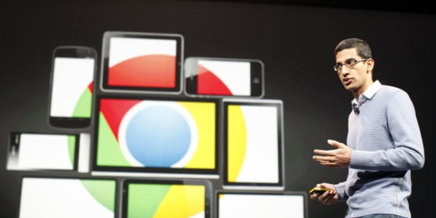 Sundar Pichai, senior vice president of Google Chrome, speaks during Google I/O Conference at Moscone Center in San Francisco, California June 28, 2012. REUTERS/Stephen Lam (UNITED STATES - Tags: BUSINESS SCIENCE TECHNOLOGY)