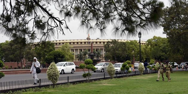 NEW DELHI, INDIA - MAY 3: A View of Parliament Building during the Parliament Session on May 3, 2016 in New Delhi, India. With the BJP mounting an offensive against Congress vice-president on the AgustaWestland VVIP chopper bribery case, Rahul Gandhi on Wednesday said he is happy to be targeted. (Photo by Sonu Mehta/Hindustan Times via Getty Images)