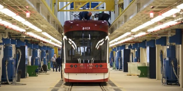 TORONTO, ON - APRIL 6: A new Bombardier streetcar in a service bay during a tour of the new TTC Leslieville Barns in Toronto, Ontario.        (Todd Korol/Toronto Star via Getty Images)