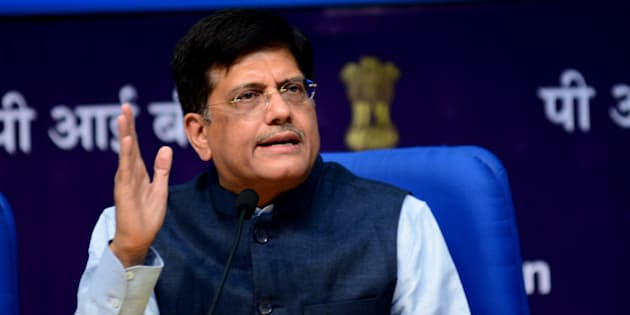 NEW DELHI, INDIA - MAY 27: Piyush Goyal  Minister of State with Independent Charge for Power, Coal and New & Renewable Energy addressing the media on completion of one year of NDA govt. at National Media Centre on May 27, 2015 in New Delhi, India. (Photo by Ramesh Pathania/Mint via Getty Images)
