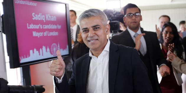 Sadiq Khan gives a thumbs up after he was announced the winner of the election for the Labour party's candidate for the Mayor of London, at the Royal Festival Hall in London, Friday, Sept. 11, 2015.(AP Photo/Frank Augstein)