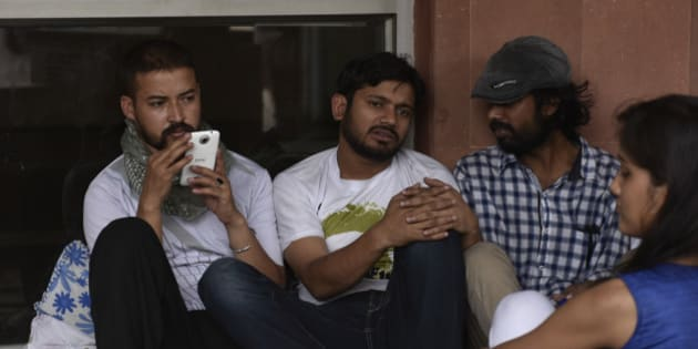 NEW DELHI, INDIA - MAY 3: JNU Students' Union President Kanhaiya Kumar with others on day six of hunger strike protesting punishment given to them by the university authorities on May 3, 2016 in New Delhi, India. Representatives of both factions are sitting on a hunger strike. Students with Left affiliations are on a hunger strike protesting punishment given to them by the university authorities for the February 9 event held to commemorate Parliament attack convict Afzal Guru. Anti-national slogans were allegedly raised at the event. Students of the ABVP faction are on a hunger strike demanding the punishment against students be made more stringent. (Photo by Vipin Kumar/Hindustan Times via Getty Images)