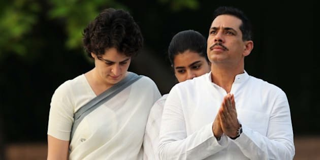 NEW DELHI, INDIA - AUGUST 20: Priyanka Vadra along with her daughter Miraya Vadra and husband Robert Vadra pay tribute to former Indian Prime Minister Rajiv Gandhi on his birth anniversary at his memorial on August 20, 2013 in New Delhi, India. Rajiv Gandhi, who heralded the information and communication technology revolution in the country, was born on August 20, 1944 and served as the sixth Prime Minister of India from 1984-1989. He was assassinated by the LTTE on May 21, 1991 at Sriperumbudur in Tamil Nadu while addressing an election campaign. (Photo by Ajay Aggarwal/Hindustan Times via Getty Images)