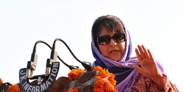 JAMMU, INDIA - APRIL 29: Jammu And Kashmir Chief Minister Mehbooba Mufti addressing the gathering after the inaguration of tourist complex at Jia Potha, Akhnoor on April 29, 2016 in Jammu, India. (Photo by Nitin Kanotra/Hindustan Times via Getty Images)
