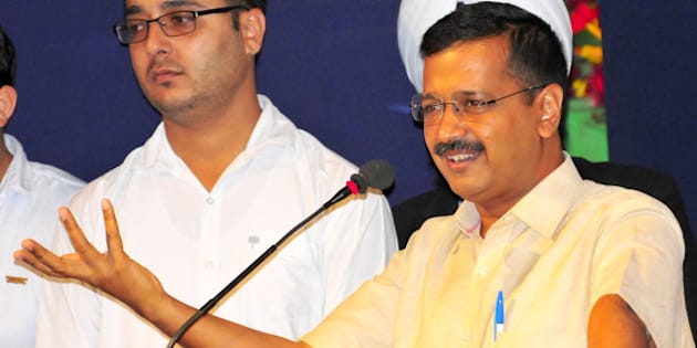 CHANDIGARH, INDIA - APRIL 28: Delhi Chief Minister Arvind Kejriwal addressing the gathering during Lawyers Induction Program, organised by Bar Council of Punjab and Haryana at Law Bhawan Sector 37 on April 28, 2016 in Chandigarh, India. (Photo by Keshav Singh/Hindustan Times via Getty Images)