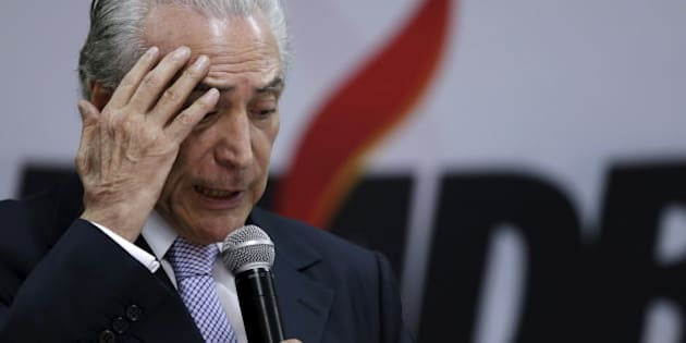 Brazil's Vice President Michel Temer gestures during a meeting with members of the Party of the Brazilian Democratic Movement (PMDB) in Brasilia May 7, 2015. REUTERS/Ueslei Marcelino