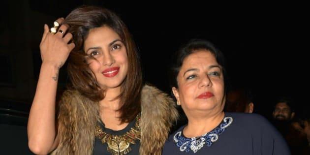 MUMBAI, INDIA  JANUARY 27: Priyanka Chopra with her mother Madhu Chopra at Sanjay Leela Bhansalis Padma Shri honour celebrations in Mumbai.(Photo by Milind Shelte/India Today Group/Getty Images)