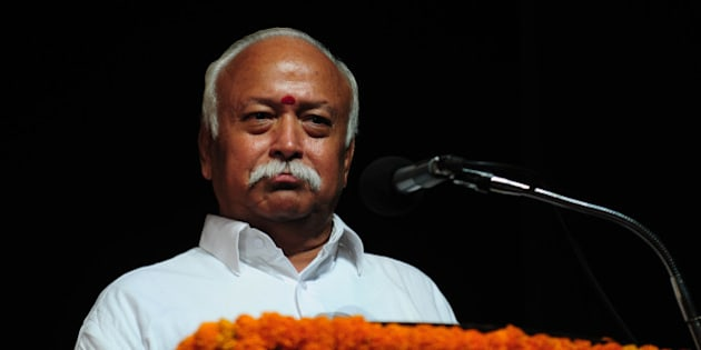 KOLKATA, INDIA  APRIL 1: RSS chief Mohan Bhagwat at Hedgewar Praja Samman in Kalamandir on April 1, 2015 in Kolkata, India. (Photo by Indranil Bhoumik/Mint via Getty Images)