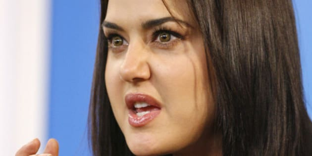"Actor Preity Zinta talks during the ""Heaven on Earth"" news conference at the 33rd Toronto International Film Festival September 6, 2008. 