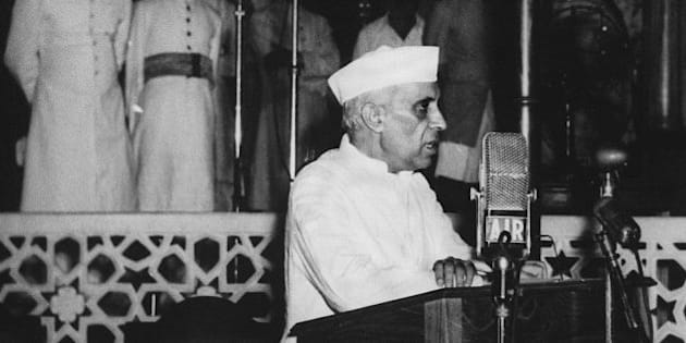 NEW DELHI, INDIA:  Jawaharlal Nehru, India's first prime minister, delivers his famous 'tryst with destiny' speech 15 August, 1947 at Parliament House in New Delhi. The speech will be replayed to the Indian parliament at midnight on 15 August, fives decades to the stroke of the clock after the country rid itself of British colonial rule. (Photo credit should read STR/AFP/Getty Images)