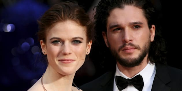 Actor Kit Harington (R) and actress Rose Leslie (L) pose for photographers as they arrive at the Olivier Awards at the Royal Opera House in London, Britain April 3, 2016. REUTERS/Neil Hall