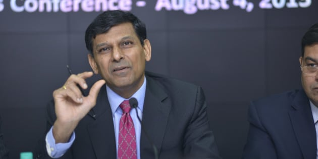 MUMBAI, INDIA - AUGUST 4: RBI Governor Raghuram Rajan during the third Bi-monthly Monetary Policy Statement for 2015-16, on August 4, 2015 in Mumbai, India. (Photo by Aniruddha Chowdhury/Mint via Getty Images)