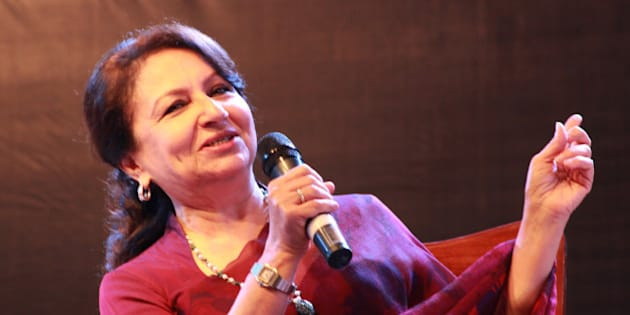 LAHORE, PUNJAB, PAKISTAN - 2016/02/21: Renowned famous Indian actress, mother of Indian famous actor Saif Ali Khan, Sharmila Tagore during the opening ceremony of  the Lahore Literature Festival scheduled at a Local Hotel in Lahore for the next 3 days. (Photo by Rana Sajid Hussain/Pacific Press/LightRocket via Getty Images)