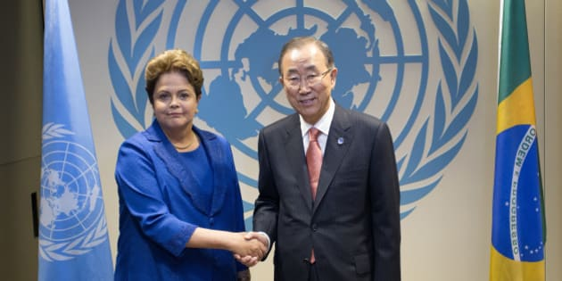 NEW YORK, NY - SEPTEMBER 24:  President of Brazil Dilma Rousseff meets with Secretary-General Ban Ki-moon during the 69th United Nations General  Assembly at UN headquarters on September 24, 2014 in New York City. The annual event brings political leaders from around the globe together to report on issues meet and look for solutions. This year's General Assembly has highlighted the problem of global warming and how countries need to strive to reduce greenhouse gas emissions. (Photo by Craig Ruttle-Pool/Getty Images)