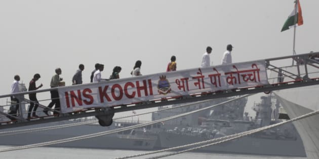 MUMBAI, INDIA - SEPTEMBER 30: Visitors during commissioning ceremony for INS Kochi on September 30, 2015 in Mumbai, India. Built by the Mazagon Dock Ltd., Mumbai INS Kochi is the second ship of the indigenously designed and constructed Project 15A (Kolkata-class) stealth guided missile destroyer. Following her commissioning, INS Kochi will be based at Mumbai, under the operational and administrative control of the Flag Officer Commanding-in-Chief, Western Naval Command. (Photo by Kunal Patil/Hindustan Times via Getty Images)
