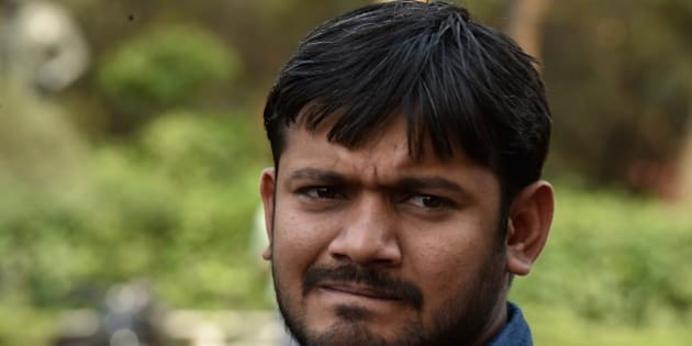 NEW DELHI, INDIA - APRIL 26: JNU Students' Union President Kanhaiya Kumar fined of Rs. 10,000/ by the authorities of JNU High Level Committee, on April 26, 2016 in New Delhi, India. JNU has suspended students Umar Khalid, Anirban Bhattacharya and Shehla Rashid Shora while slapping a fine of Rs. 10,000 on Students' Union President Kanhaiya Kumar. JNU students' union has decided to go on an indefinite hunger strike starting Wednesday to protest the action taken against its President Kanhaiya Kumar. Kanhaiya, Umar Khalid and Anirban Bhattacharya were arrested on charges of sedition in February in connection with an event against hanging of Parliament attack convict Afzal Guru. (Photo by Vipin Kumar/Hindustan Times via Getty Images)