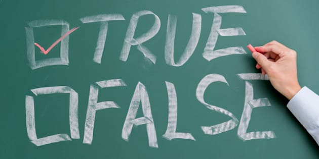 True and false checkboxes on chalkboard.